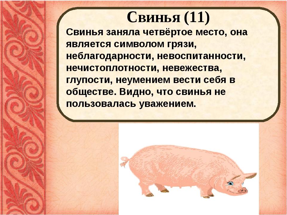 Свинья (11) Свинья заняла четвёртое место, она является символом грязи, небл...