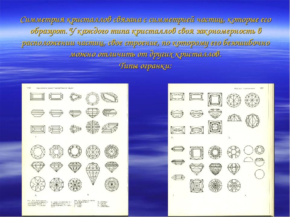 Симметрия кристаллов связана с симметрией частиц, которые его образуют. У каж...
