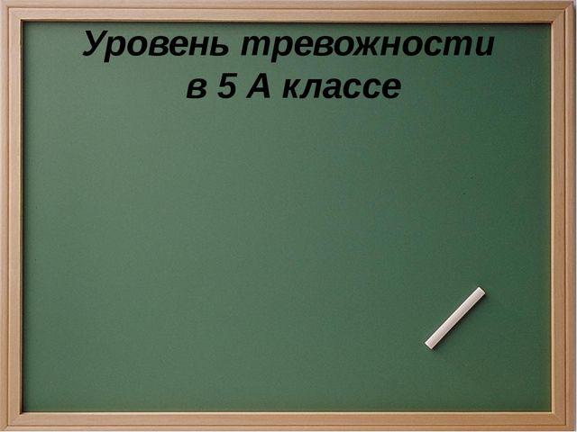 Уровень тревожности в 5 А классе