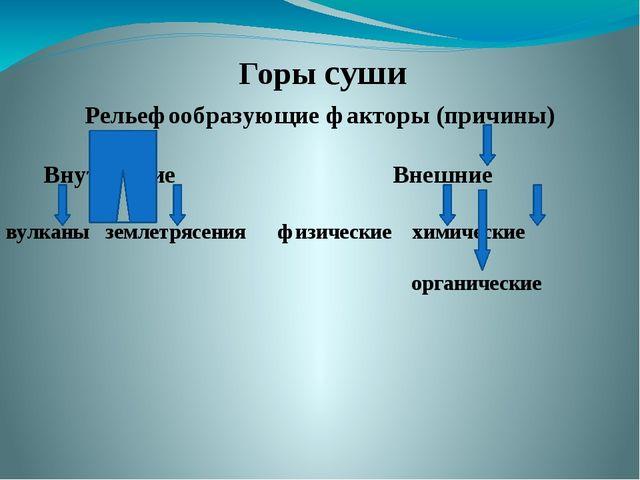 Рельефообразующие факторы (причины) Внутренние Внешние вулканы землетрясения...