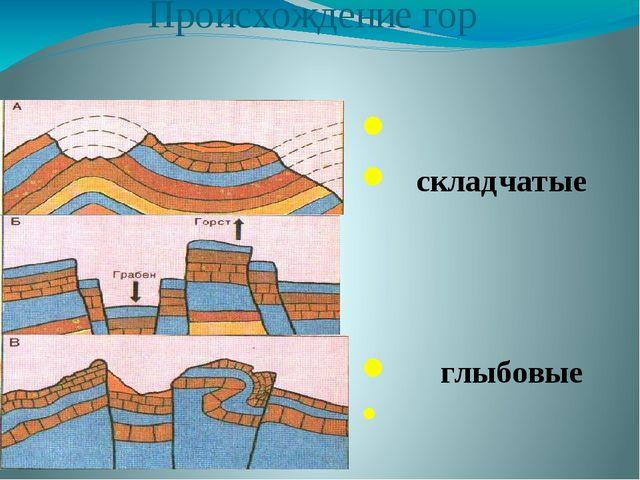 Происхождение гор складчатые глыбовые складчато-глыбовые