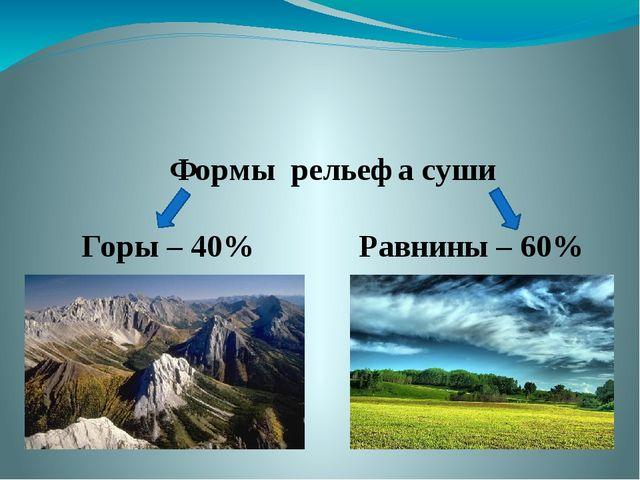 Формы рельефа суши Горы – 40% Равнины – 60%