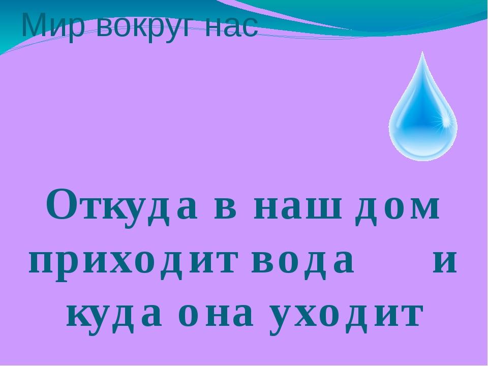 Мир вокруг нас Откуда в наш дом приходит вода и куда она уходит