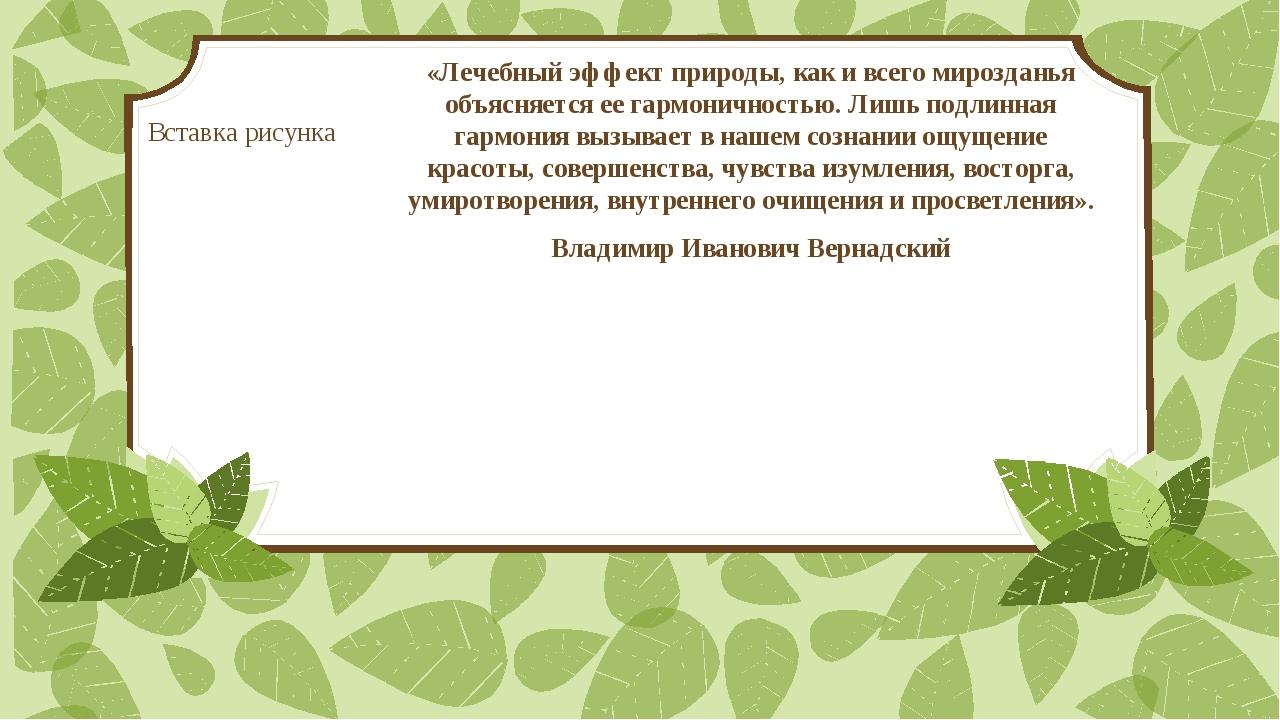 «Лечебный эффект природы, как и всего мирозданья объясняется ее гармоничность...