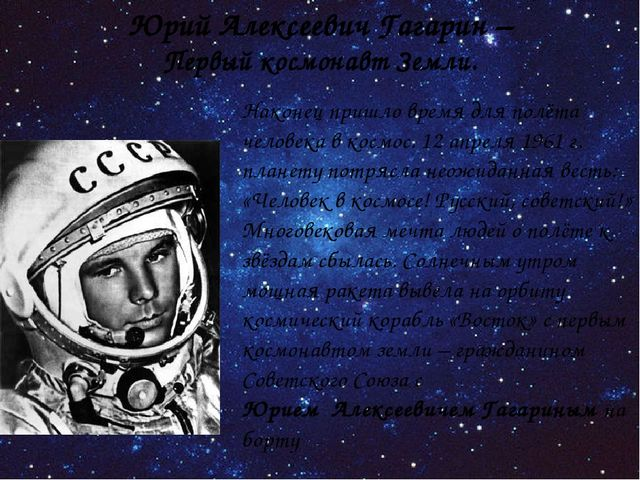 Наконец пришло время для полёта человека в космос. 12 апреля 1961 г. планету...
