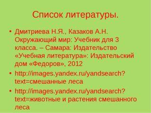 Список литературы. Дмитриева Н.Я., Казаков А.Н. Окружающий мир: Учебник для 3