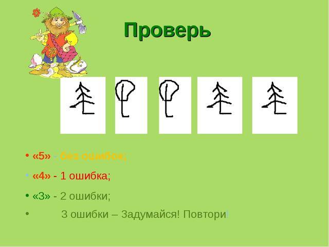 Проверь «5» - без ошибок; «4» - 1 ошибка; «3» - 2 ошибки;  3 ошибки – Задума...