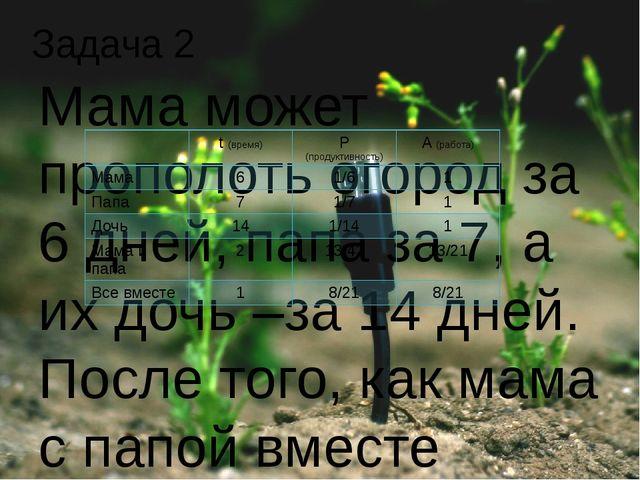 Мама может прополоть огород за 6 дней, папа за 7, а их дочь –за 14 дней. Посл...