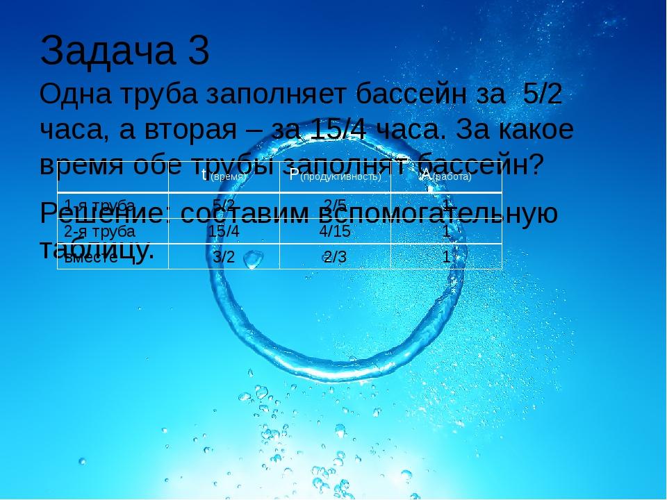 Задача 3 Одна труба заполняет бассейн за 5/2 часа, а вторая – за 15/4 часа. З...