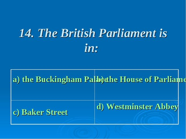 14. The British Parliament is in: a) the Buckingham Palace b) the House of P...