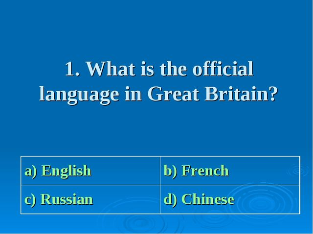 1. What is the official language in Great Britain? a) Englishb) French с) Ru...