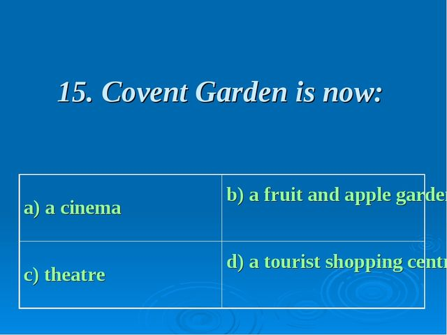 15. Covent Garden is now:
