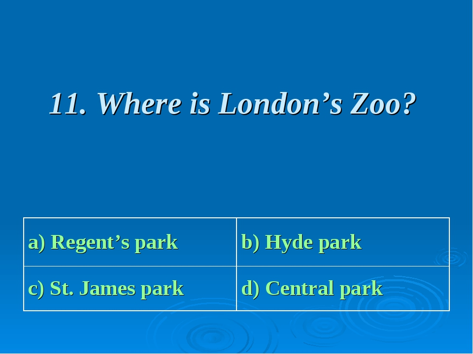 11. Where is London's Zoo?