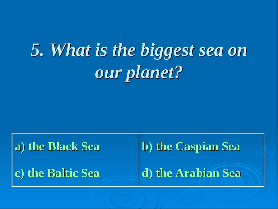 5. What is the biggest sea on our planet?