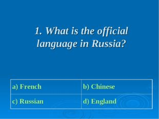 1. What is the official language in Russia? a) French b) Chinese c) Russian