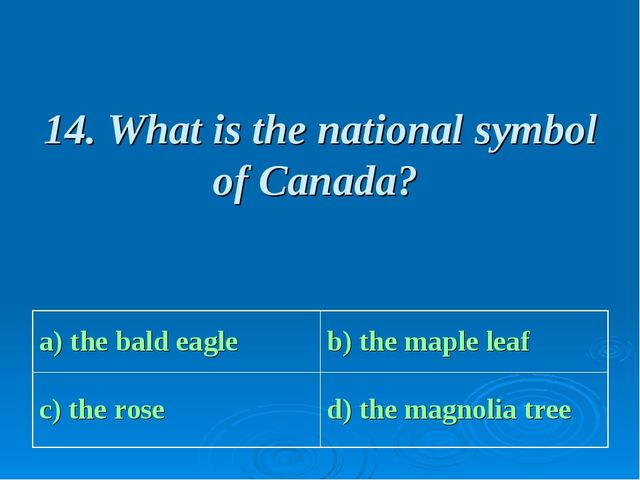 14. What is the national symbol of Canada? a) the bald eagle b) the maple le...