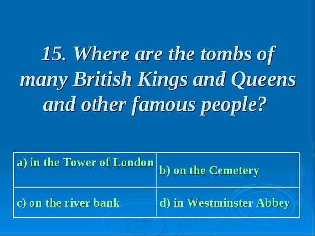 15. Where are the tombs of many British Kings and Queens and other famous peo...