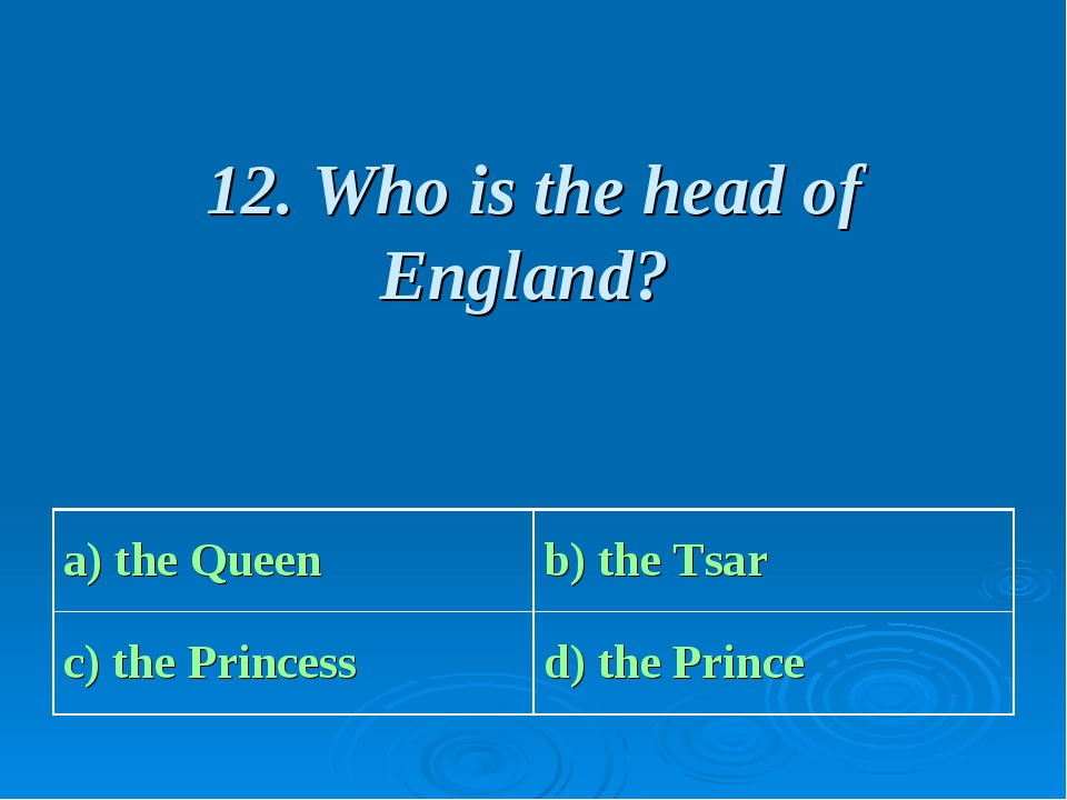 12. Who is the head of England? a) the Queen b) the Tsar с) the Princess d)...
