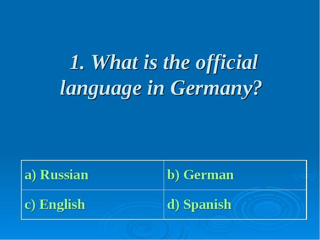 1. What is the official language in Germany? a) Russian b) German c) English...