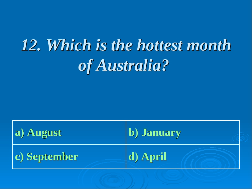 12. Which is the hottest month of Australia? a) August b) January c) Septemb...