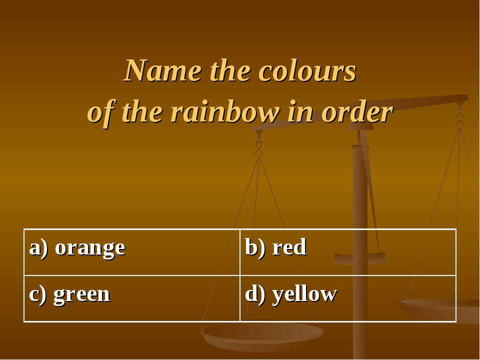 Name the colours of the rainbow in order