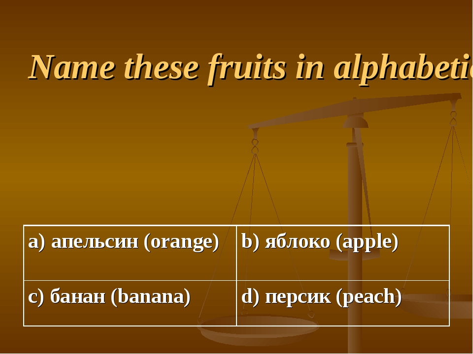 Name these fruits in alphabetical order.
