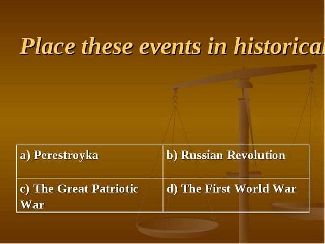 Place these events in historical order a) Perestroyka b) Russian Revolution...