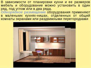 В зависимости от планировки кухни и ее размеров мебель и оборудование можно у