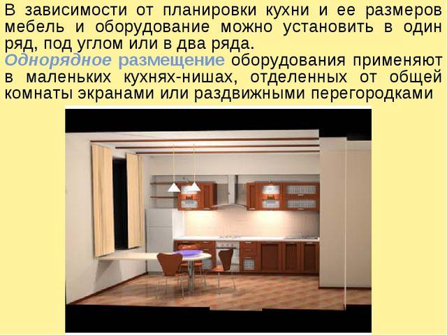 В зависимости от планировки кухни и ее размеров мебель и оборудование можно у...