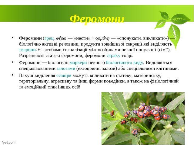 Феромони Феромони (грец. φέρω — «нести» + ορμόνη — «спонукати, викликати»)—...