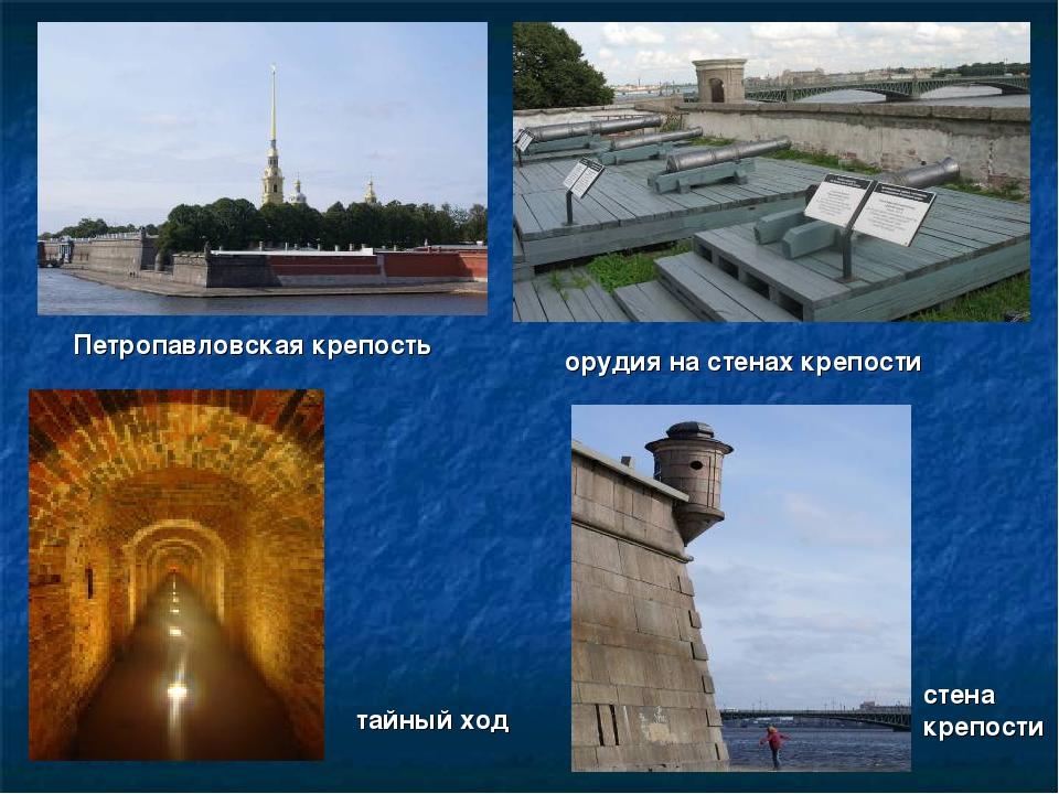 Петропавловская крепость орудия на стенах крепости тайный ход стена крепости