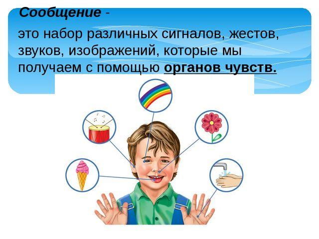 Сообщение - это набор различных сигналов, жестов, звуков, изображений, котор...