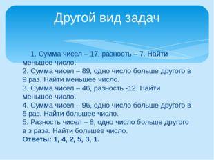1. Сумма чисел – 17, разность – 7. Найти меньшее число. 2. Сумма чисел – 89,