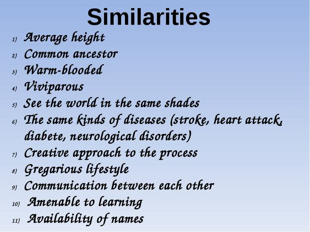 Similarities Average height Common ancestor Warm-blooded Viviparous See the w...