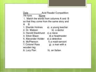 Date Avid Reader Competition 7th form Name I. Match the words from columns A
