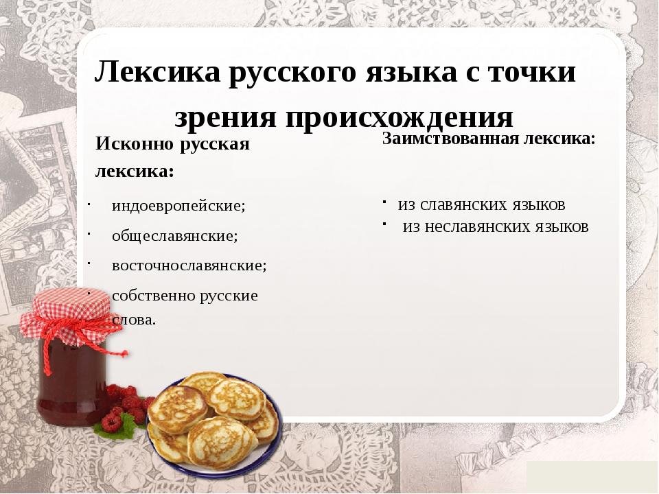 Лексика русского языка с точки зрения происхождения Исконно русская лексика:...