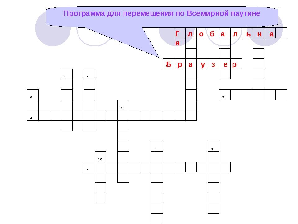 Программа для перемещения по Всемирной паутине Г л о б а л ь н а я Б р а у з...