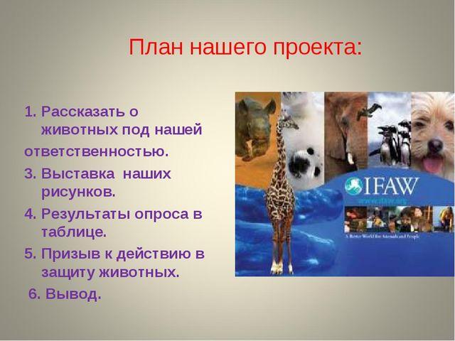 План нашего проекта: Рассказать о животных под нашей ответственностью. 3. Выс...