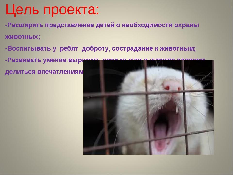 Цель проекта: -Расширить представление детей о необходимости охраны животных;...