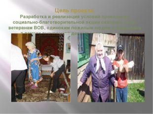 Цель проекта. Разработка и реализация условий проведения социально-благотвори