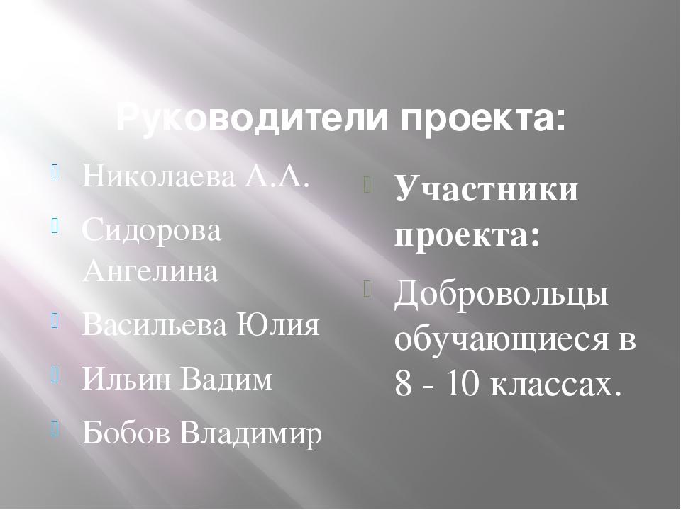 Руководители проекта: Николаева А.А. Сидорова Ангелина Васильева Юлия Ильин...