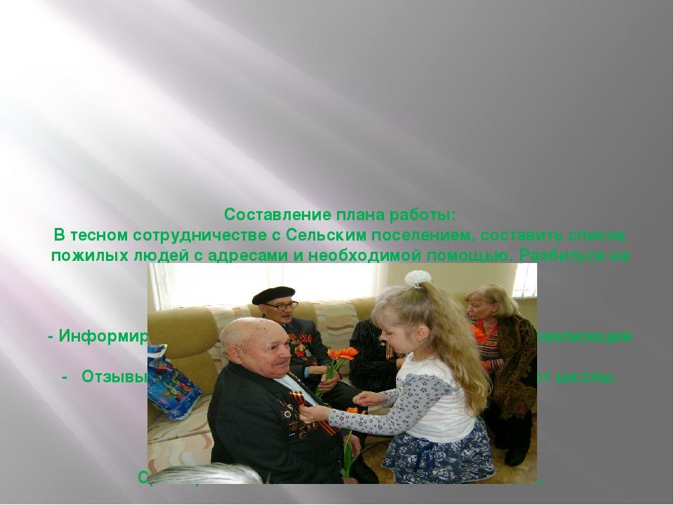 Составление плана работы: В тесном сотрудничестве с Сельским поселением, сос...
