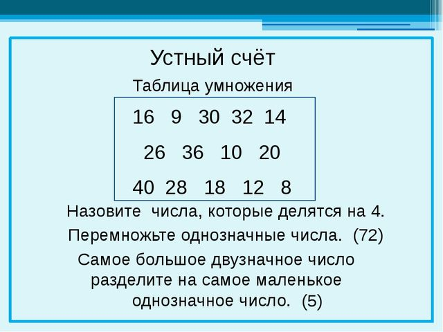 16 9 30 32 14 26 36 10 20 40 28 18 12 8 Устный счёт Перемножьте однозначные...