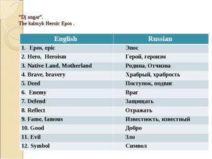"""Dj angar"". The kalmyk Heroic Epos . English Russian Epos, epic Эпос 2. Her"