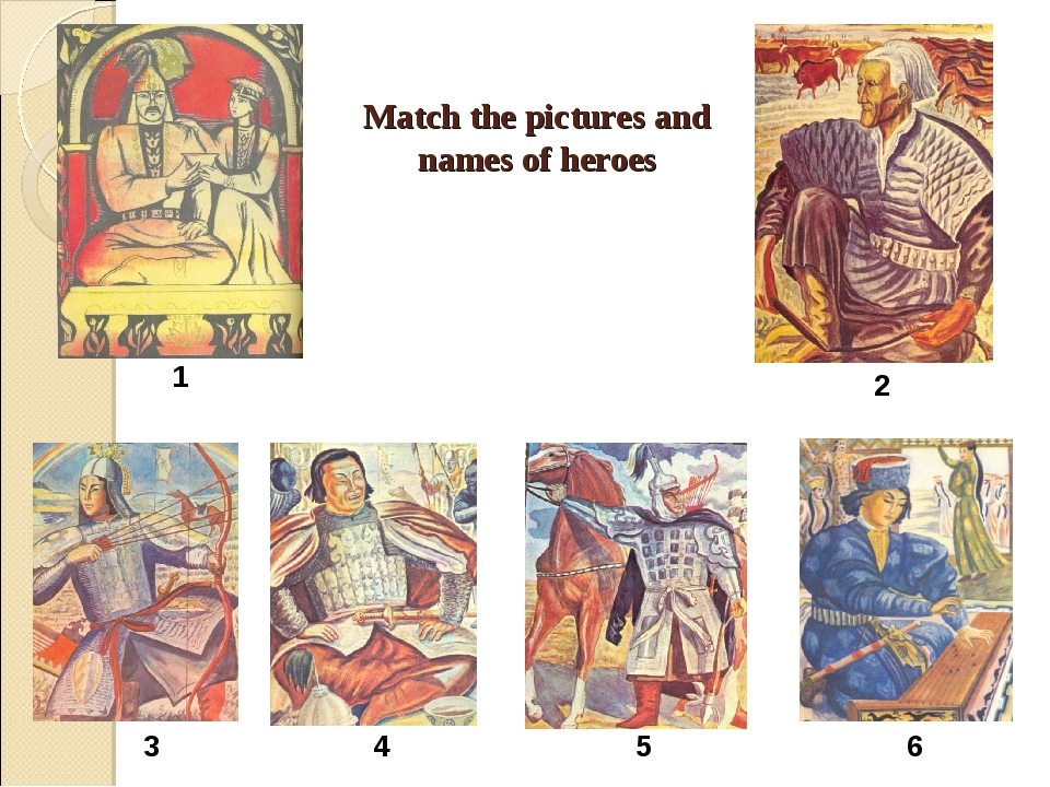 Match the pictures and names of heroes 1 2 3 4 5 6