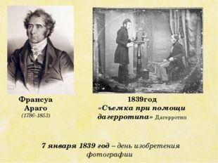 Франсуа Араго (1786-1853) 1839год «Съемка при помощи дагерротипа» Дагерротип