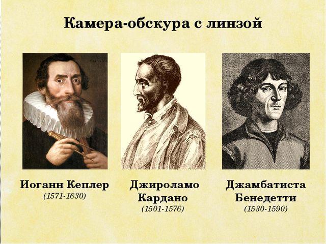 Иоганн Кеплер (1571-1630) Джироламо Кардано (1501-1576) Камера-обскура с линз...