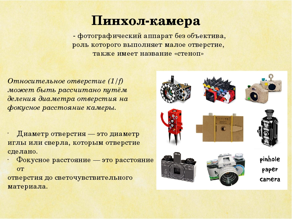 Пинхол-камера - фотографический аппарат без объектива, роль которого выполняе...
