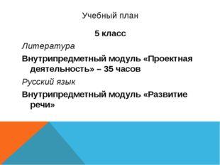 Учебный план 5 класс Литература Внутрипредметный модуль «Проектная деятельнос