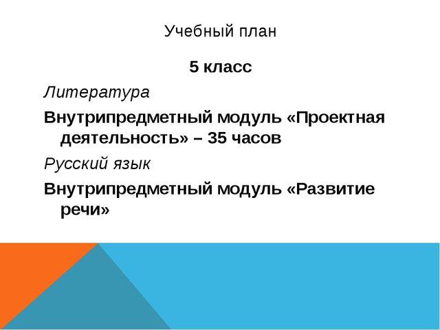 Учебный план 5 класс Литература Внутрипредметный модуль «Проектная деятельнос...